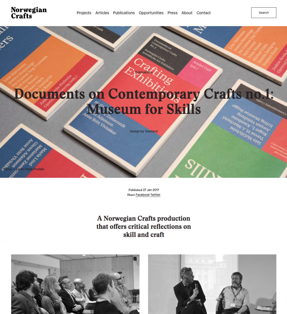 Crafts Council Launch Education Manifesto Craft: Norwegian Craft: Documents On Contemporary Crafts No.1