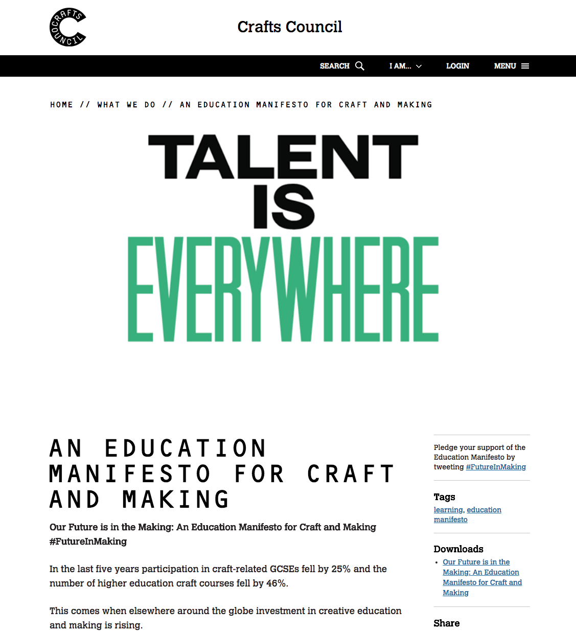 Craft Council UK: Our Future is in the Making: An Education Manifesto for Crafts and Making